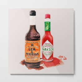 Saucy! Watercolour Food illustration Metal Print