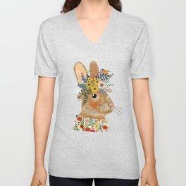 Foral Rabbit Unisex V-Neck