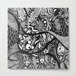 Doodle Journey Black and White Metal Print