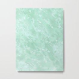 Mint Green Silk Moire Pattern Metal Print