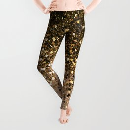 Sparkling Gold Brown Glitter Glam #1 (Faux Glitter) #shiny #decor #art #society6 Leggings