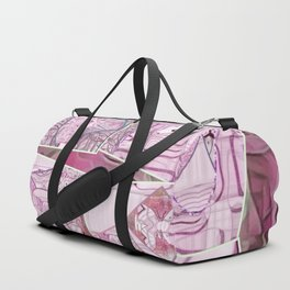 Flamingo Pink Clover Leaf Collage Duffle Bag