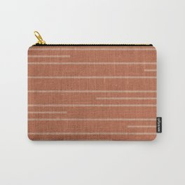 Geometric Art, Colorful Stripes Mudcloth, Terracotta Carry-All Pouch