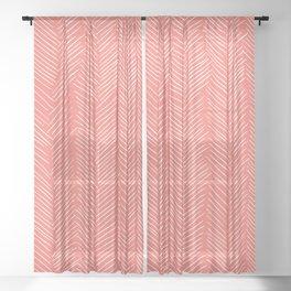 Living Coral Herringbone Happiness Sheer Curtain