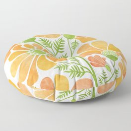 Happy California Poppies / hand drawn flowers Floor Pillow