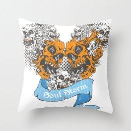 Skull Soul Storm Throw Pillow