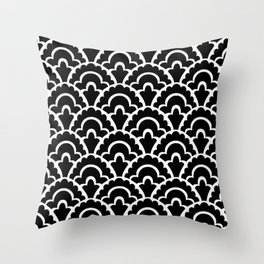Fan Pattern Black and White 116 Throw Pillow