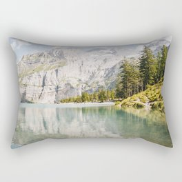 Oeschinensee lake in the mountains, the Alps of Suisse/Switzerland  | Fine Art Colorful Travel Photography |  Rectangular Pillow