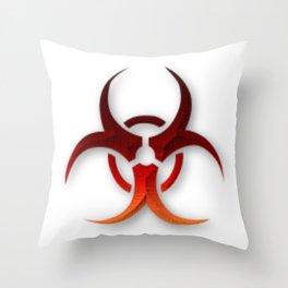 Rusty Biological Hazard Symbol Throw Pillow