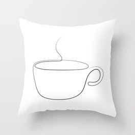 coffee or tea cup - line art Throw Pillow