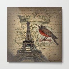 I love Paris Shabby chic Robin French Scripts Jubilee Crown Vintage Paris Eiffel Tower Metal Print