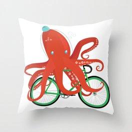Octopus on a Bike Throw Pillow