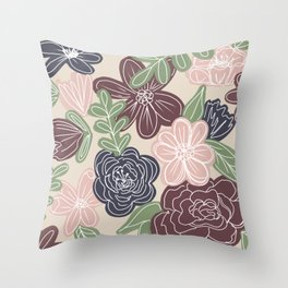Mixed media floral Throw Pillow