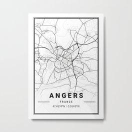 Angers Light City Map Metal Print