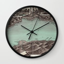 Vintage Pictorial Map of Lake Geneva (1870) Wall Clock