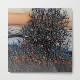 Abstract Sunset Tree Metal Print
