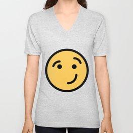 Smiley Face   Cheeky Eyebrow Raised Smile Unisex V-Neck