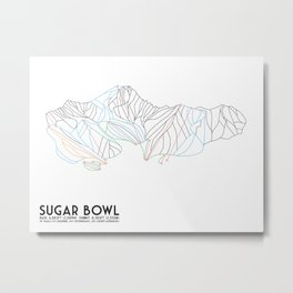 Sugar Bowl, CA - Minimalist Trail Map Metal Print