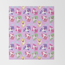 Baby Shark Doo Doo Family - Pink Pastel Version Print Throw Blanket