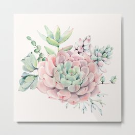 Perfect Pink Succulent Metal Print