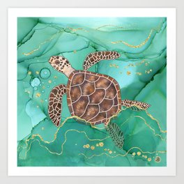 Precious Hawksbill Sea Turtle Swimming in the Emerald Ocean Art Print