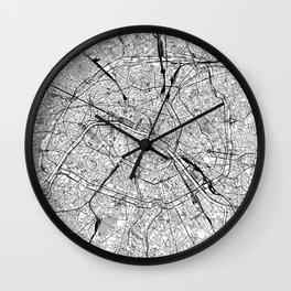 Paris White Map Wall Clock