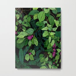 Green and Purple Beautyberry Illustration Metal Print
