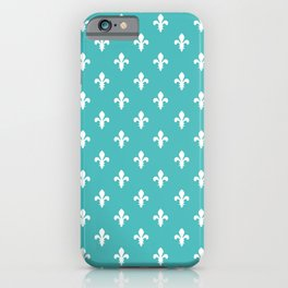 Fleur-de-Lis (White & Teal Pattern) iPhone Case