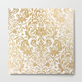Gold foil swirls damask #12 Metal Print
