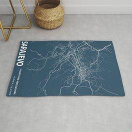 Sarajevo Blueprint Street Map, Sarajevo Colour Map Prints Rug