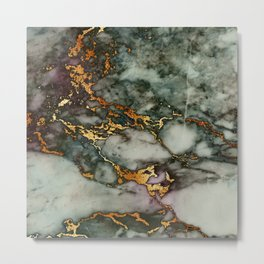 Gray Green Marble Glitter Gold Metallic Foil Style Metal Print