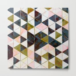 Marble Triangle Tiles in Green Gold  Metal Print