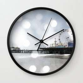 Sparkling grey Santa Monica Pier Wall Clock