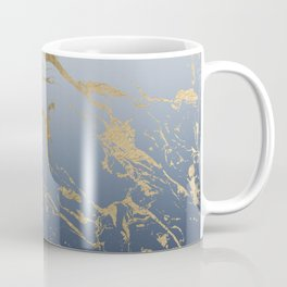 Modern grey navy blue ombre gold marble pattern Coffee Mug