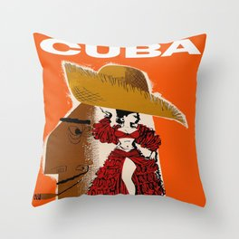 Vintage Travel Ad Cuba Throw Pillow