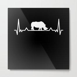 Rhino Heartbeat Save the Rhinoceros Gift Metal Print