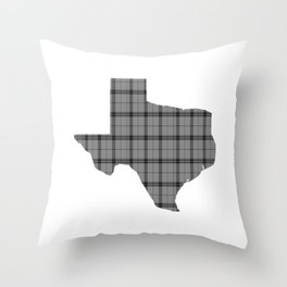 Texas State Shape: Grey Throw Pillow