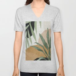 Abstract Art Tropical Leaves 4 Unisex V-Neck