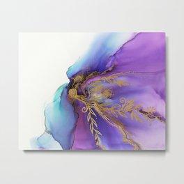 Blooming Gold In Violet Iris - Abstract Ink Painting Metal Print