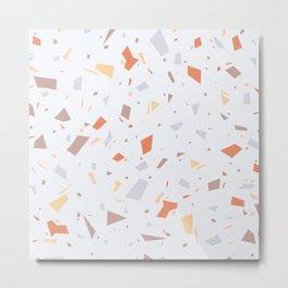Faded Pastel Terrazzo - Tan, Grey and Orange Speckles - Granite Marble Pattern Metal Print