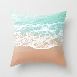 Soft Emerald Beige Ocean Beauty Dream #1 #wall #decor #art #society6 Throw Pillow