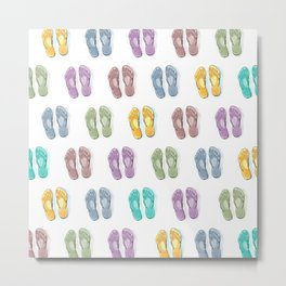 Happy coloured flip flops summer vibes Metal Print