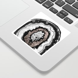 Gray Black White Agate with Rose Gold Glitter #3 #gem #decor #art #society6 Sticker