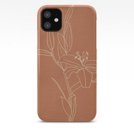 Lily Flower Line Drawing 2 iPhone Case