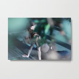 [18] Meditation time, woman is sitting, relaxation, yoga pose, yoga practice, plants, tree, forest Metal Print