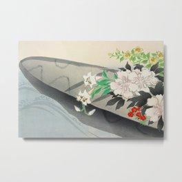 Kamisaka Sekka - Flower boat from Momoyogusa Metal Print