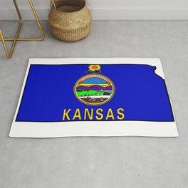 Kansas Map with Kansas State Flag Rug