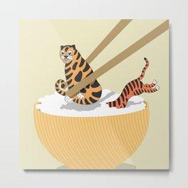 Tiger Rice with Chopstick Metal Print