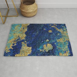 Indigo Teal and Gold Ocean Rug