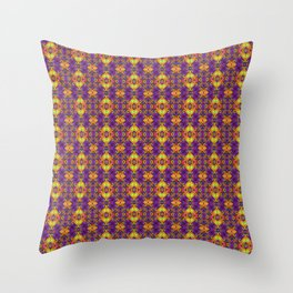 Gold & Purple Curly Medallions Throw Pillow